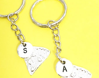 Personalized Keychain Set of Two Pizza Keychains for Friends Gift for Pizza Lover Set of 2 Keychains Friendship set of Two