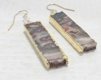 Geode Slice Earrings - Brown Druzy Agate Slice Earrings - Geode - Boho Gemstone Jewelry - Gold Filled Dangle Earrings - Gift For Her