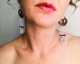 Long Mapuche Earrings. Chile. Fine Silver .950 Soft Jingle