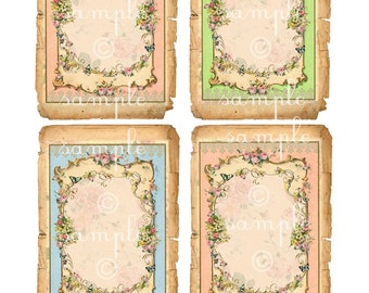 Instant Download - No. 3367B - 3x5  Digital Download - Printable  Digital Collage Sheet roses florals flowers romantic French