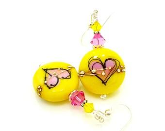 Yellow Earrings, Pink Heart Earrings, Silhouette Heart Earrings, Colorful Earrings, Lampwork Earrings, Glass Bead Earrings, Bright Earrings