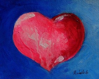 Gift For Wife, Gift for Mom, Pink Heart, Anniversary Gift, Blue, Painting, Small Art, Gift For Her, Romantic Gift, Wedding Gift, Engagement