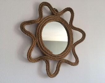 Sunburst mirror made of hemp rope - 1950s