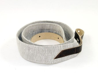 Natural Linen Mandolin / Ukulele Strap with Leather ends