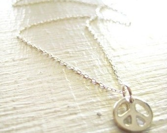 A Tiny Peace Charm Necklace - A Little Peace in Sterling Silver