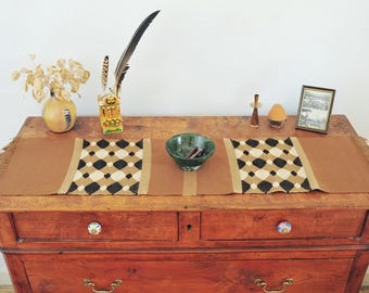 Handwoven table runner/ Loom Work/ Cotton Linen & Wool