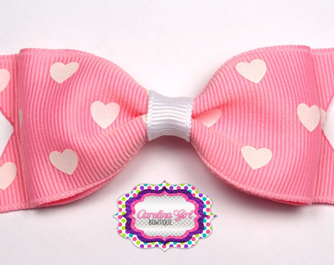 "Pink with White Hearts Bow ~ 3.5"" Bow ~ No Slip ~ Small HairBow ~ Girls Barrette ~ Toddler Bow ~ Baby Hair Bow ~ Hair Clip ~ Girls Hair Bow"