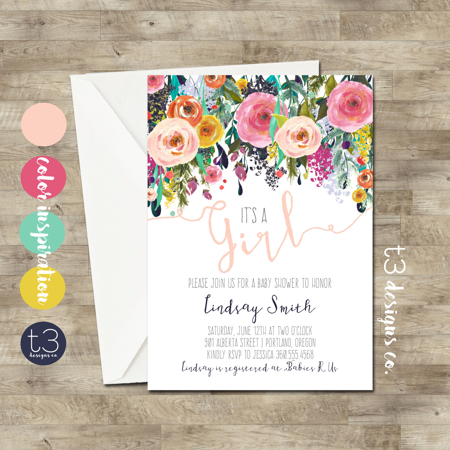 Watercolor Baby Shower Invitation Floral baby shower Baby Girl