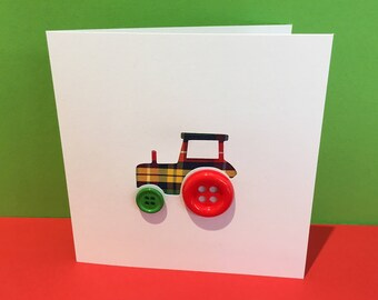 Tractor Card with Button Wheels - Handmade - Paper Cut Greeting Card - Farm - Birthday Card - Card for a Boy - Card for a child