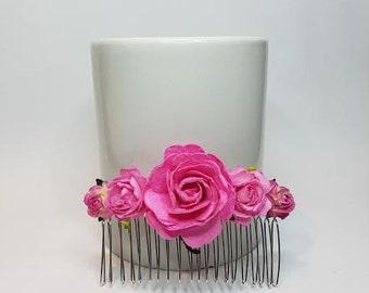 Flower Hair Comb, Pink Hair Comb, Pink Headpiece, Bridal Headpiece, Pink Wedding.