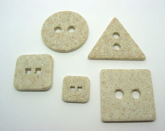 Set of 5 buttons, square, triangle, round, off-white stone appearance - ref 7A