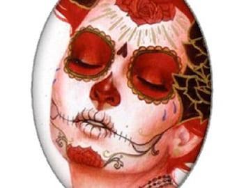 18x25cm, calavera, skull cabochon