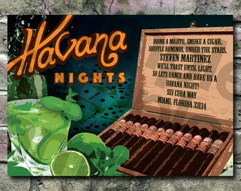 Cuban theme, Havana nights invitation - Mojitos, Cigars, Dominos - 5 x 7 on high quality stock, with envelopes - Free shipping