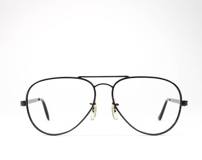 1980s Eyeglass Frame  Aviator Glasses   80s Vintage Eyeglasses   Matte Black Aviator Frames - Madison Black