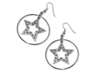 Stars in Hoops Dangle Earrings Polished Silver Finish Pewter #997