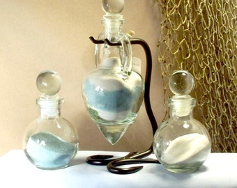 "Personalized Unity Sand Ceremony Set ""Amphora""  with glass stoppers"