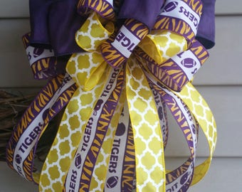 Tigers Football Wreath Bow / Football Bow / Wreath Attachment / Tigers Wired Ribbon Bow