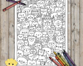 Cute Kitty Cats Printable Coloring Page