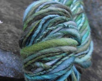 Handspun yarn, handpainted thick and thin yarn, soft wool, worsted yarn-NEREID