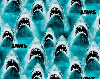Blue Jaws Shark Fabric - all over print - Quilting Cotton; [[by the half yard]]