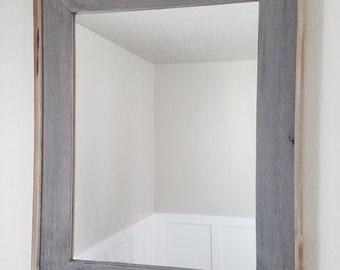 Mirror w/Reclaimed wood Edge (Weathered Gray)