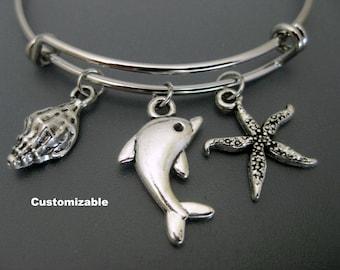 Dolphin Bracelet / Dolphin Bangle / Beach Bracelet /  Dolphin Lover / Shell Bracelet / Adjustable Charm Bracelet / Dolphin Gift /