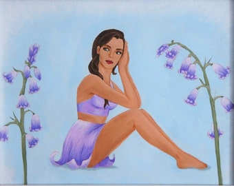 "Bluebell Pin-up Flower Girl, Original Acrylic Nature Art Painting, One of a Kind, 10""x8"""