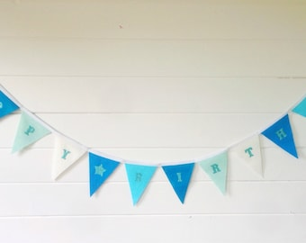 Teal Turquoise Blue Happy Birthday Bunting With Glitter Lettering