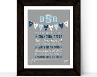 New baby boy gift, baby boy nursery wall decor print canvas, personalized gift for new parents, gift for newborn new mom, gift from grandma
