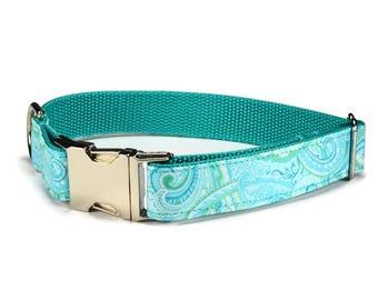 Aqua Paisley Dog Collar, Paisley Dog Collar, Preppy Dog Collar, Aqua Dog Collar, Summer Dog Collar, Fancy Dog Collar, Girl Dog Collar