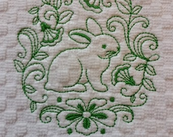 Embroidered  Bunny Rabbit Hand Towel - Easter Bunny Hand Towel - Rabbit Kitchen Decor - Rabbit Bath Decor - Spring Home Decor - Shower Gift