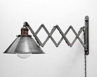 Scissor lamp articulating adjustable brass swing sconce scissor lamp articulating adjustable steel swing sconce industrial wall mount extension bedside reading light aloadofball Images
