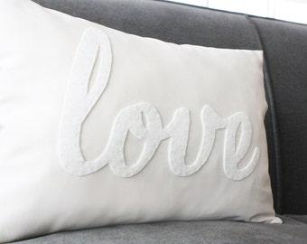 Love Pillow, Decorative Pillow, White Love Pillow, White on White Pillow, White Calligraphy Pillow, Gender Neutral Kids Decoration