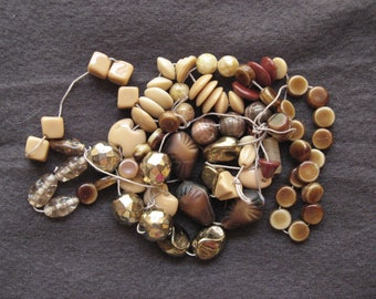 Vintage glass beads for repurposing - browns, tans