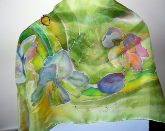 Hand Painted Silk Scarf natural light green silk shawl with flowers