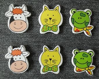 Miniature wooden - cow, cat, frog - 4 x 3.5 cm heads