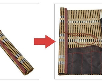 Free Shipping Chinese Calligraphy Material  29x26cm Natural Bamboo Roll-up Brush Holder / Brush Protecting Bag - S -  0001