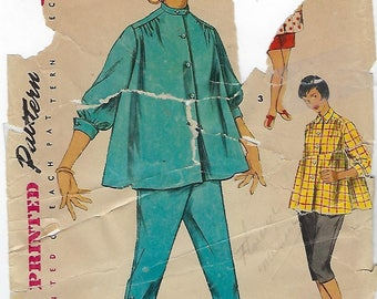 Simplicity 1027  Maternity Shirt-Blouse, Toreadore Pants And Shorts in Junior Misses' And Misses'  Size  11  Bust 29""