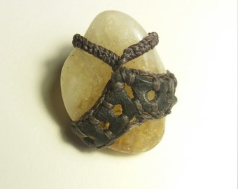 Citrine and woven leather Crown pendant