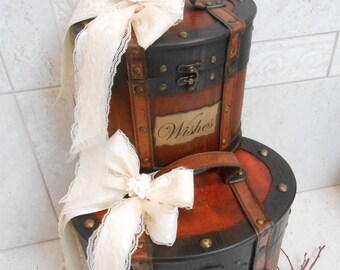 Wedding Card Trunk / Brown Rustic Card Trunk / Wedding Wishes Trunk / Wedding Card Holder / Brown Wedding Trunks / Wedding Decorations