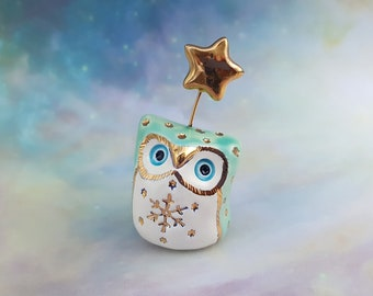 Fairy Owl Sculpture with Blue Eyes