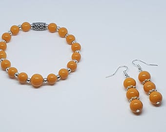Orange Glass Beaded Bracelet w/ Earrings Set