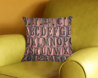 Vintage Rubber Stamps Alphabet Pillow Cover - retro typography - alphabet pillow case - 2-sided printing
