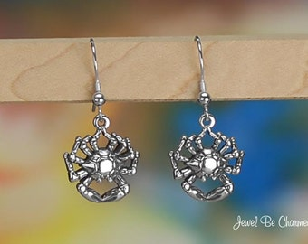 Sterling Silver Crab Earrings Pierced Fishhook Earwires Solid .925