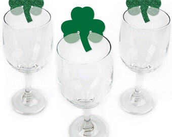 St. Patrick's Day Party Wine Markers - Saint Patty's Day Holiday Party Shaped Wine Glass Charms - Drink Markers - Wine Tags - Set of 24