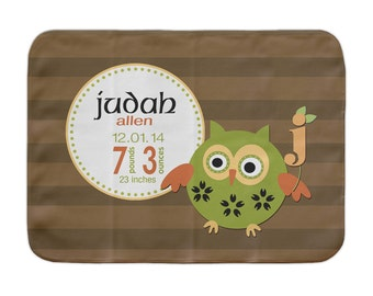 Personalized Baby Blanket, Striped Owl, Custom Receiving Blanket, Baby Boy Stats Blanket, Woodland Baby Blanket, Monogram Stroller Blanket