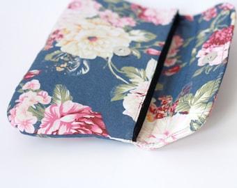 Floral Clutch, Dark Blue simple clutch, Bridesmaid Gift, Bridesmaid Clutch,