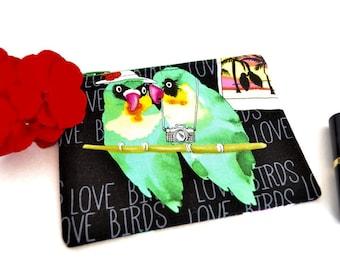 Lovebird zipper purse, parrot pouch, coin purse, small change, gift for girlfriend