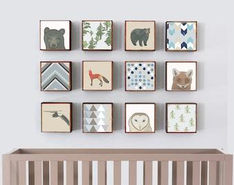 Nursery wall art, Baby animal prints, Woodland nursery theme, Woodland animals- twelve set of 5x5 art blocks- forest nursery decor art print