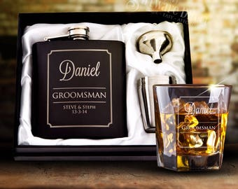 Engraved 6oz Black Wedding Hip Flask Gift Set Personalised Bomboniere Favor Gift Box with FREE WHISKEY GLASS